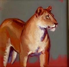 Huntress - original lion oil painting Contemporary wildlife Art 21st Century