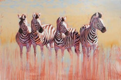 Kwandwe Quartet - abstract zebra animal painting contemporary wildlife art