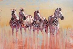 Kwandwe Quartet  abstract zebra animal painting