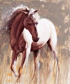 Sleipnir - original abstract horse wildlife oil painting contemporary modern art