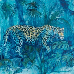 The Night Prowler - animal painting original wildlife contemporary Art