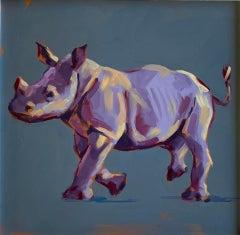 Thunder - original rhino oil painting Contemporary wildlife Art 21st Century