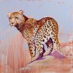 Vantage Spot-original abstract leopard animal painting contemporary wildlife art