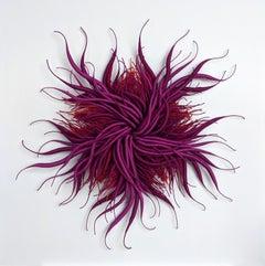 Specimen 19, Framed Nature Inspired Purple, Red Hand-dyed Fiber Sculpture
