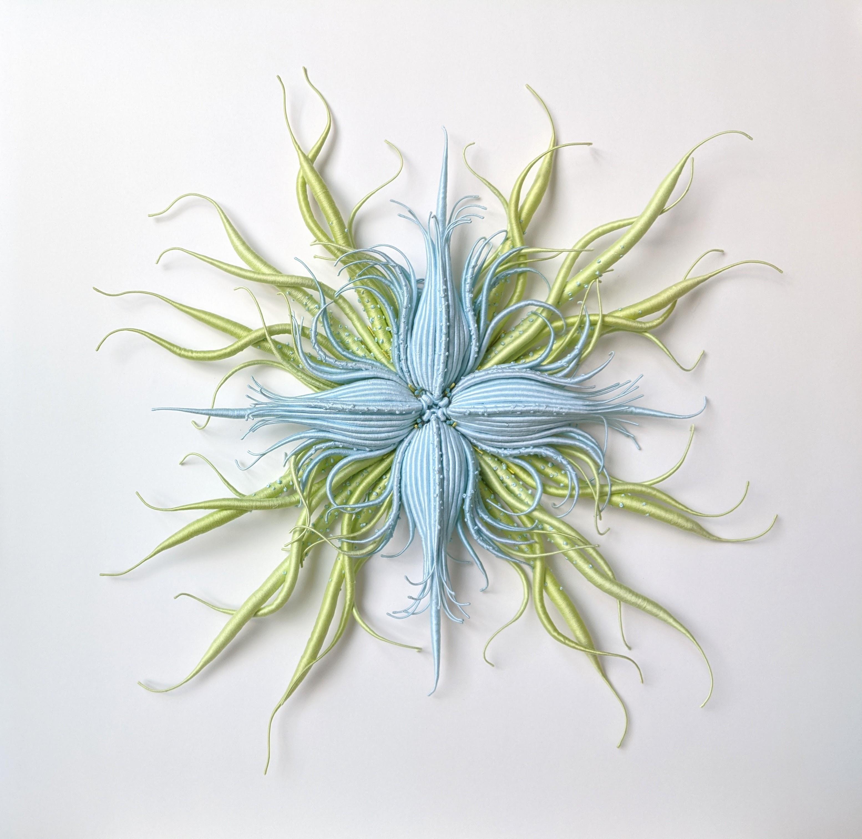 Specimen 20, Framed Sea Nature Inspired Blue Green Hand-dyed Fiber Sculpture