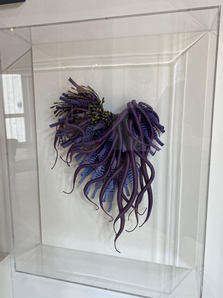 Specimen 24, Framed Sea Nature Inspired Hand-dyed Purple, Blue Fiber Sculpture For Sale 6