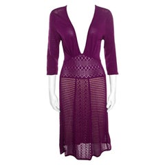 Catherine Malandrino Grape Purple Perforated Knit Plunge Neck Dress M