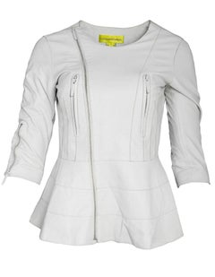 Catherine Malandrino White Leather Moto Jacket Sz 2