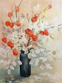 Chinese Lanterns and Lunaria, Original Painting