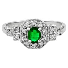 Catherine Oval Emerald with Diamond Art Deco Style Cluster Ring in Platinum