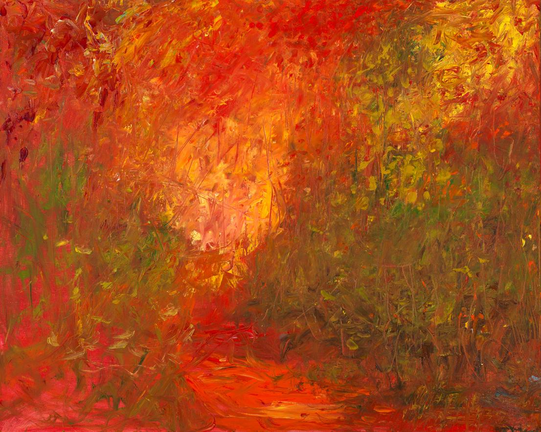 """""""Capture of Autumn"""", oil painting, abstract, landscape, red, green, yellow"""