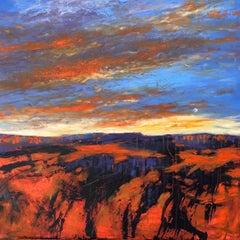 """""""Desert Moonrise"""", oil painting, desert, landscape, orange, blue, purple"""