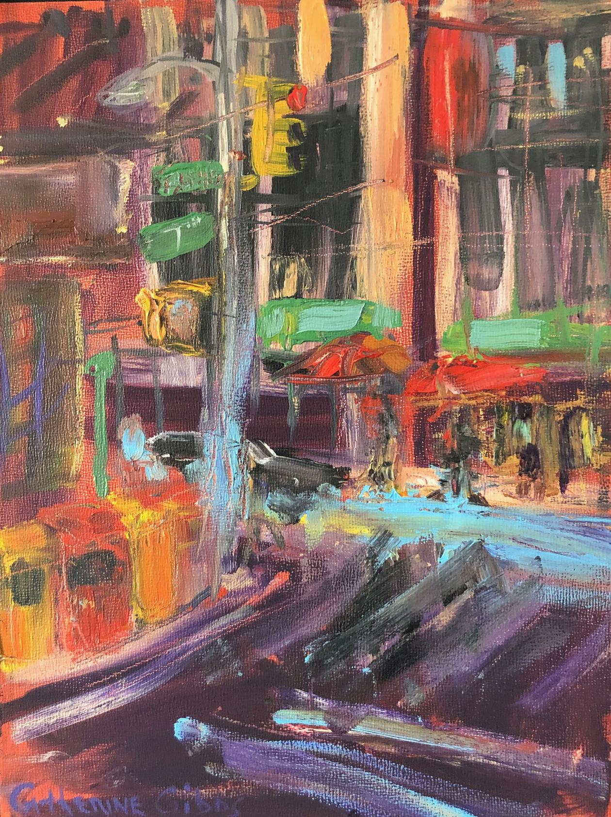"""""""Fashion District"""", oil painting, street scene, New York, red, green, blue"""