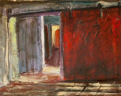 """Light at the End of the Corridor"", oil painting, interior, factory, red, blue"
