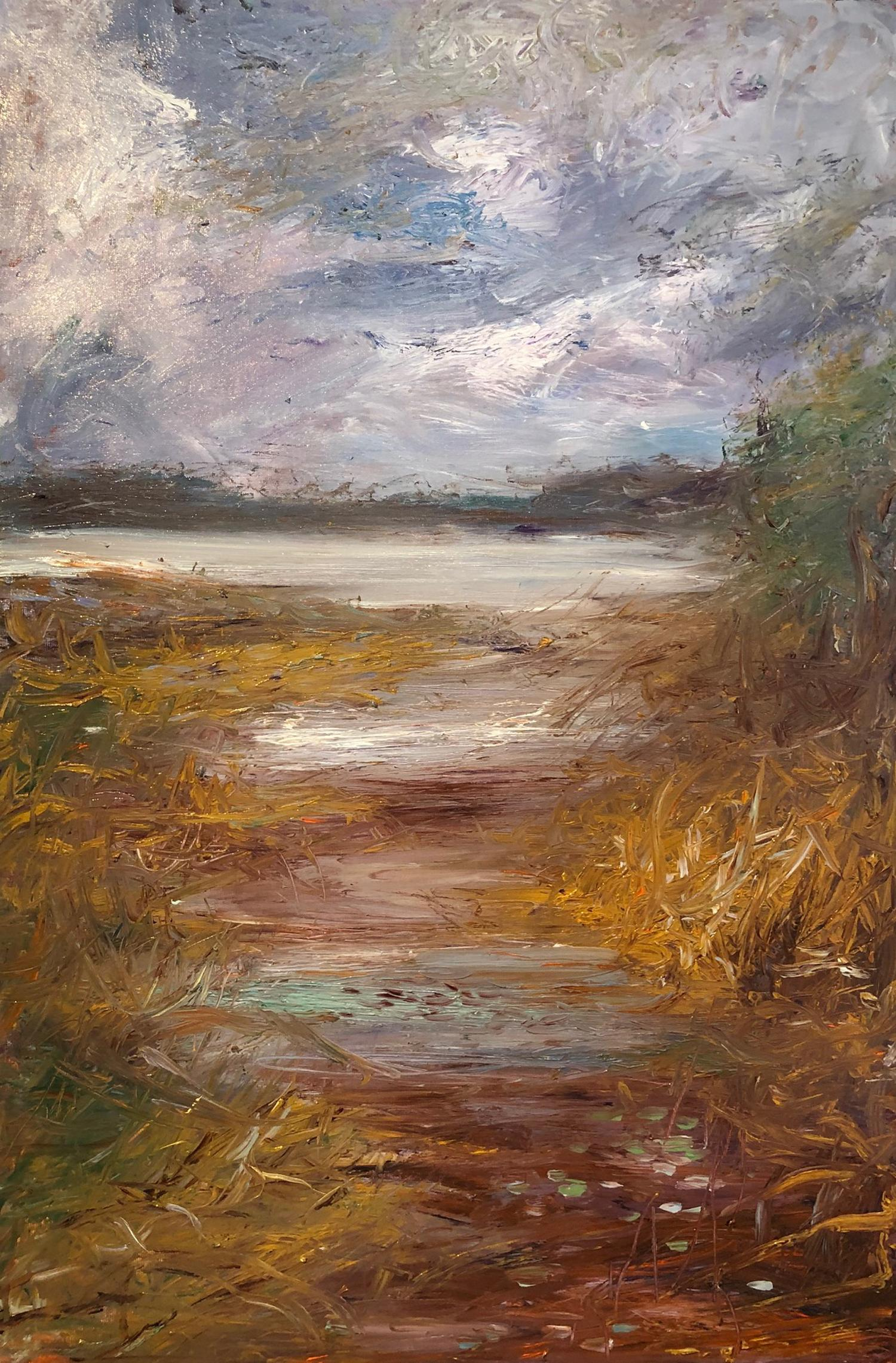 """""""November Reservoir"""", oil painting, landscape, abstract, water, brown, purple"""