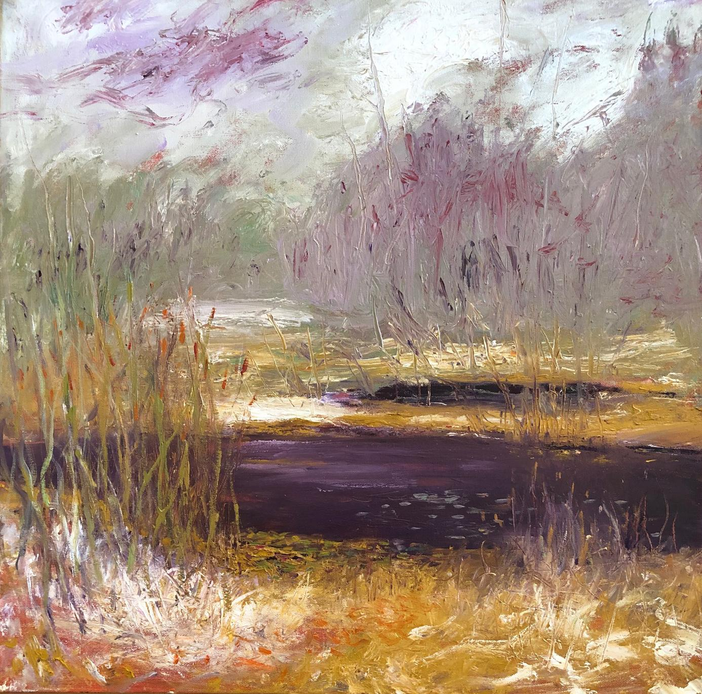 """""""The Dark Pond"""", oil painting, landscape, abstract, water, snow, brown, purple"""