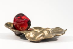 Pomegranate with Casing - small, bright red, glass, bronze, still life sculpture