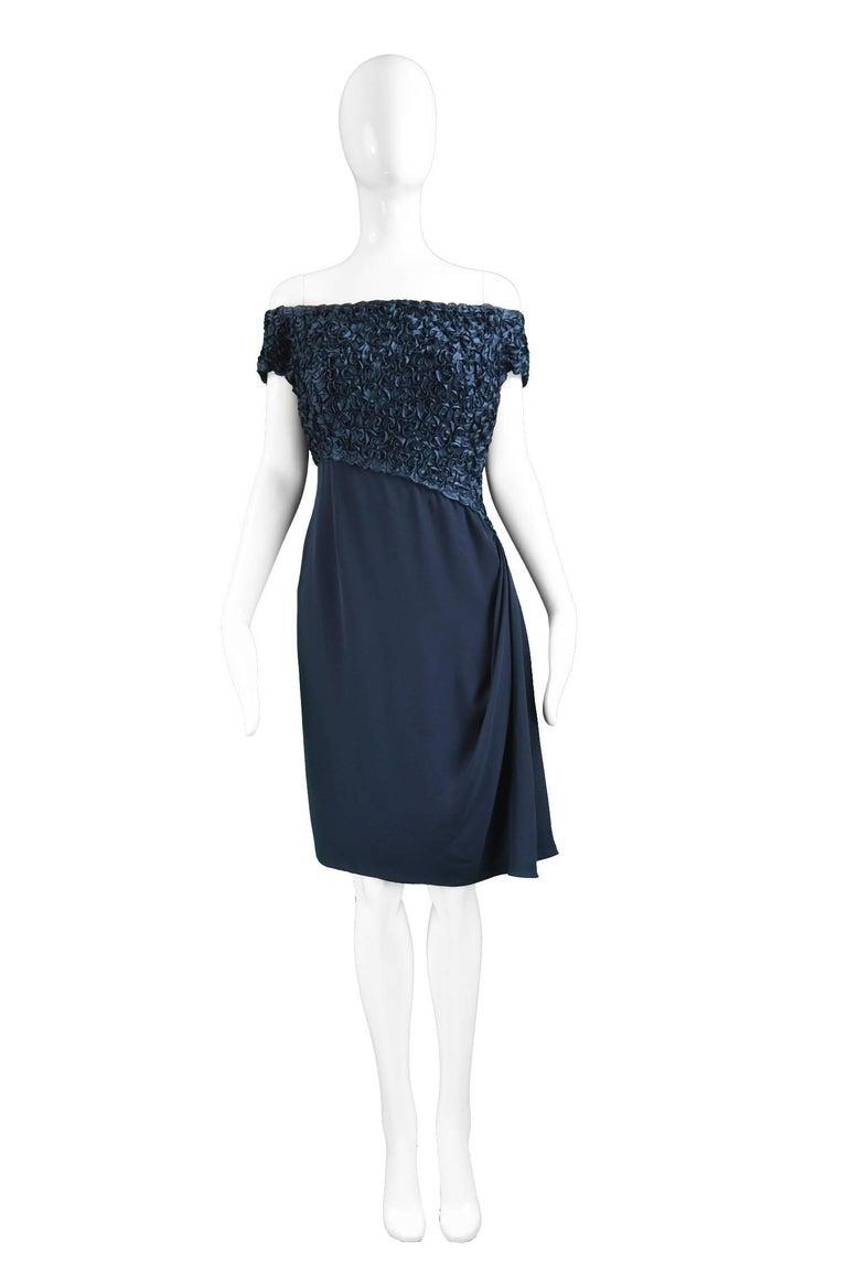 "Catherine Walker Navy Blue Silk Ribbonwork & Crepe Couture Evening Dress, 1980s  Estimated Size: UK 8/ US 4/ EU 36. Please check measurements. Bust - 34"" / 86cm Waist - 26"" / 66cm Hips - 38"" / 96cm Length (Bust to Hem) - 30"" / 76cm   Condition:"