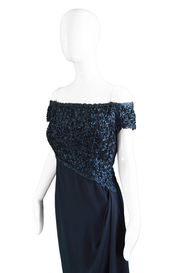 Catherine Walker Navy Silk Ribbonwork Evening Dress In Excellent Condition For Sale In Doncaster, South Yorkshire