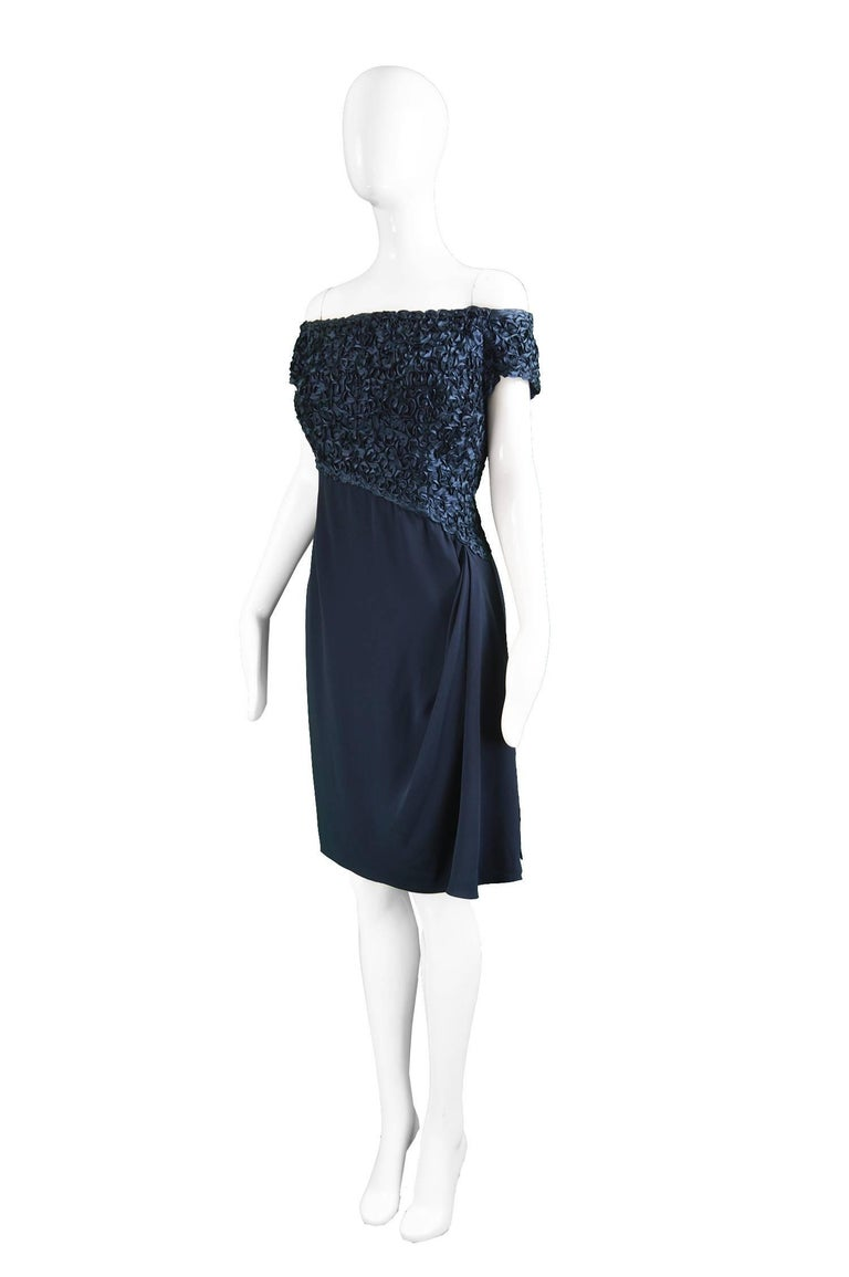 Women's Catherine Walker Navy Silk Ribbonwork Evening Dress For Sale