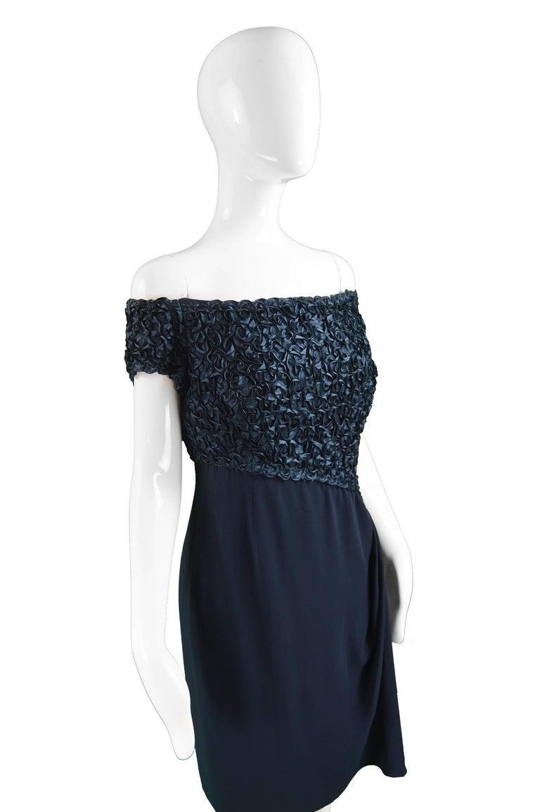 Catherine Walker Navy Silk Ribbonwork Evening Dress For Sale 1