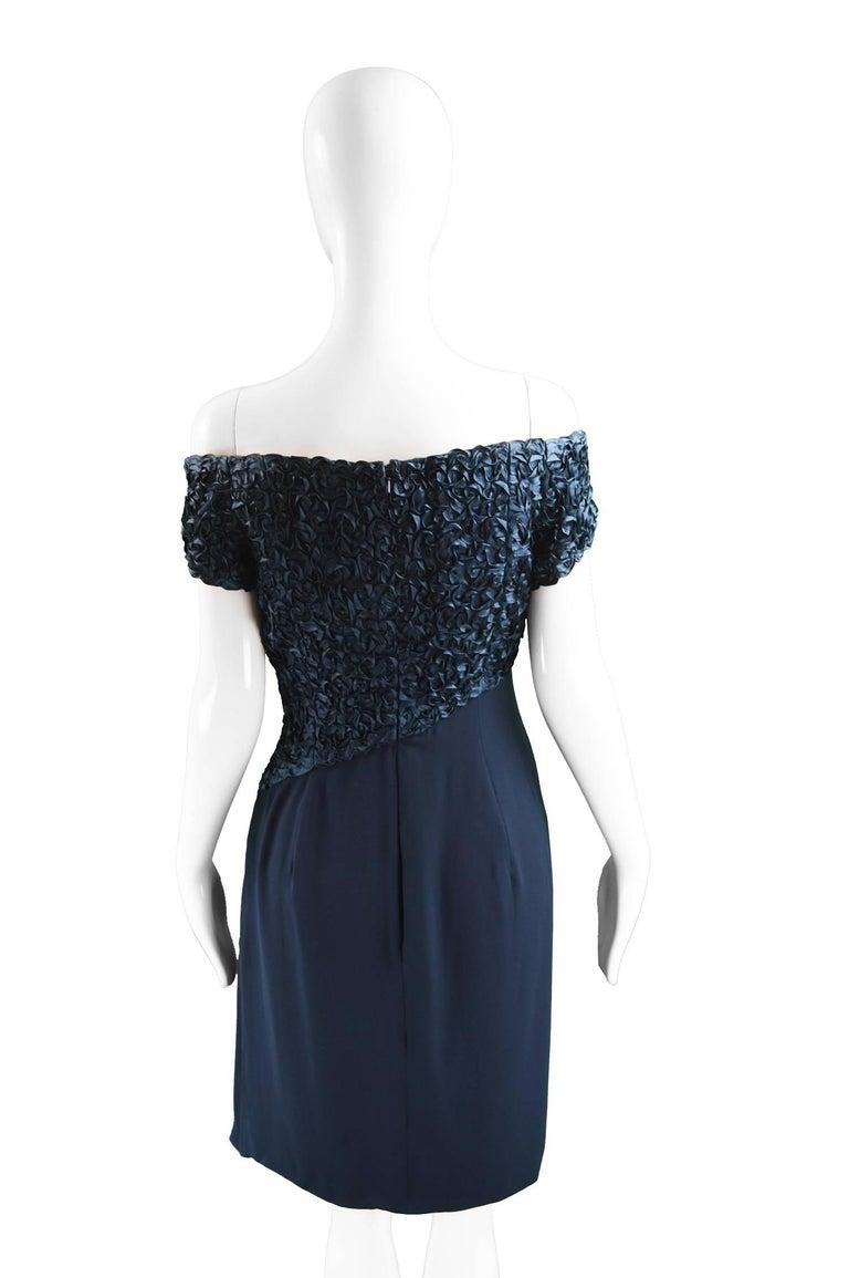 Catherine Walker Navy Silk Ribbonwork Evening Dress For Sale 2