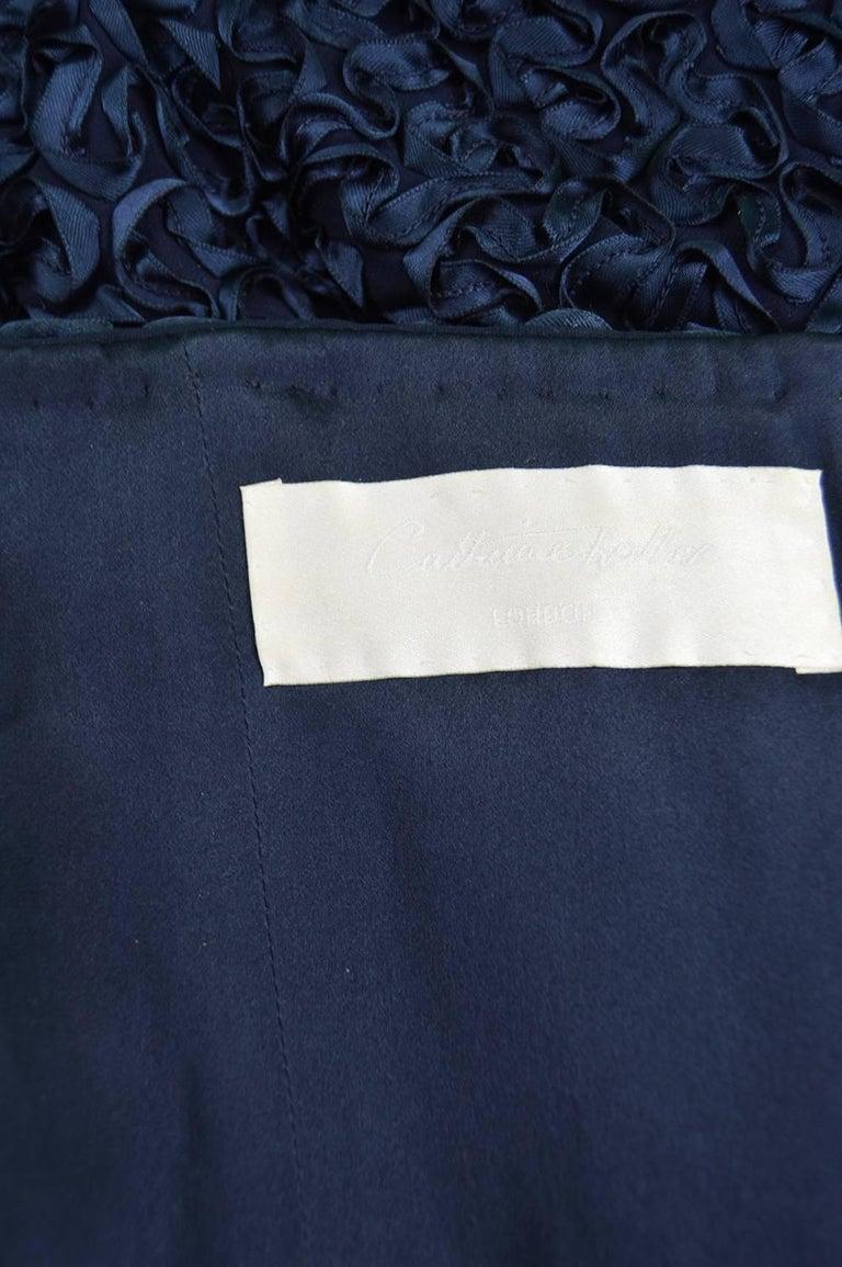 Catherine Walker Navy Silk Ribbonwork Evening Dress For Sale 3