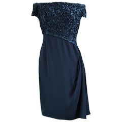 Catherine Walker Navy Silk Ribbonwork Evening Dress