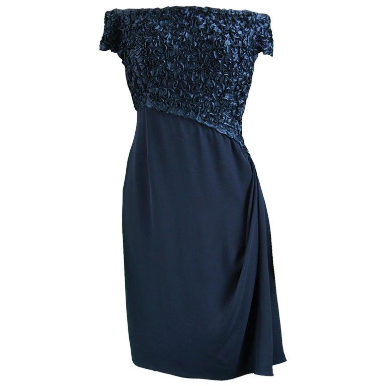 Catherine Walker Navy Silk Ribbonwork Evening Dress For Sale