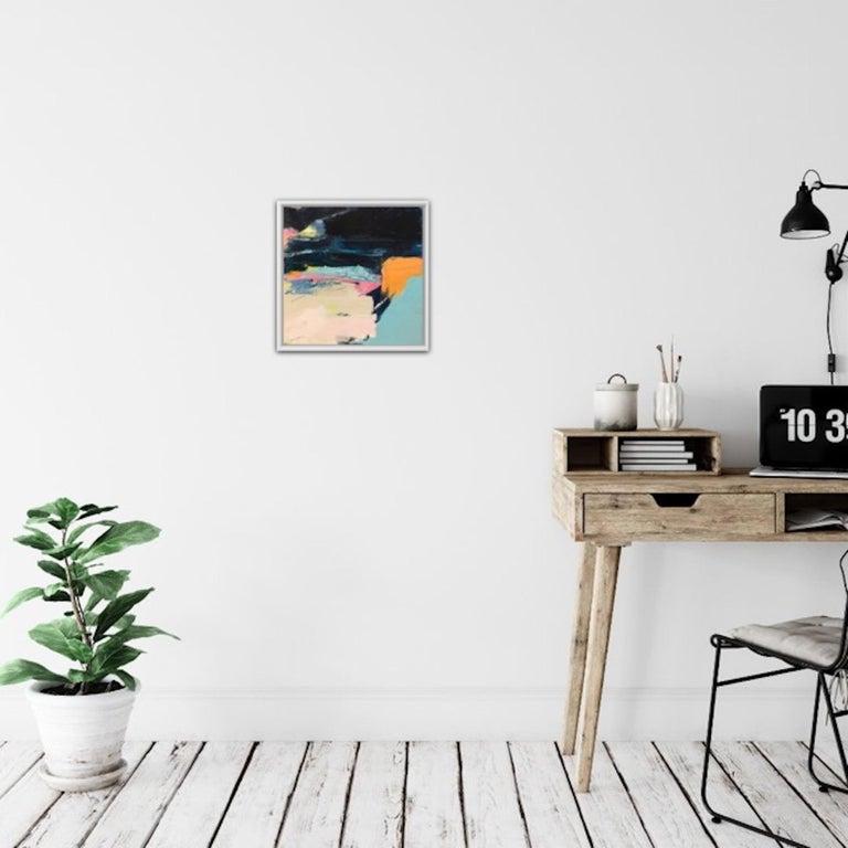 Orange Cliff, Catherine Warren, Original Abstract Art, Statement Art, Bright Art - Beige Abstract Painting by Catherine Warren