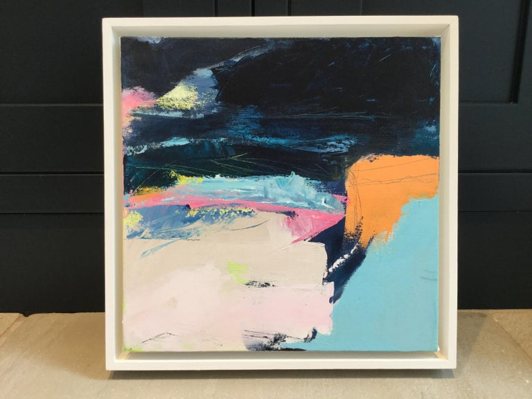 Catherine Warren Orange Cliff Original Abstract Painting Acrylic & mixed media on canvas Image Size: 30 cm x 30 cm x 4 cm Framed Size: 33.5 cm x 33.5 cm x 5 cm (Please note that in situ images are purely an indication of how a piece may