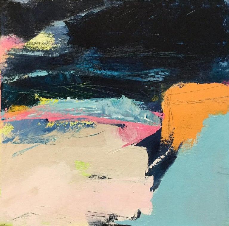 Orange Cliff, Catherine Warren, Original Abstract Art, Statement Art, Bright Art - Painting by Catherine Warren