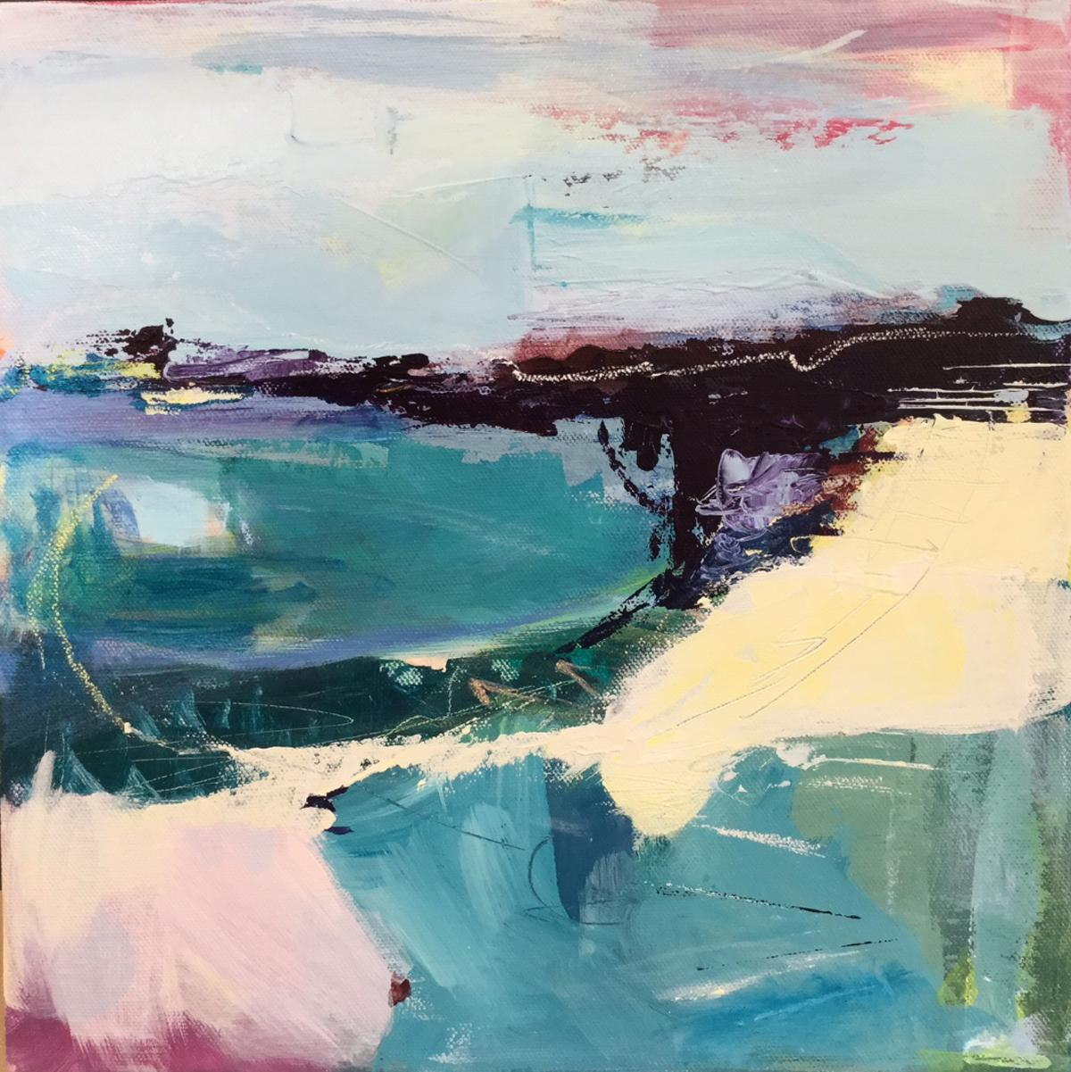 Purple Bay CATHERINE WARREN, Bright Abstract Art, Contemporary Seascape Painting