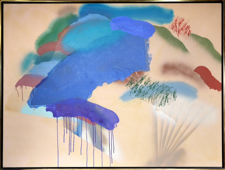 Catherine Warren Abstract Painting - Untitled - Abstract with Blue and Taupe