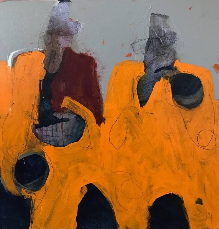 Catherine Woskow Abstract Painting - Cadmium Horns