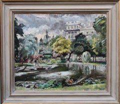Green Park London - British Impressionist art 1940's landscape oil painting