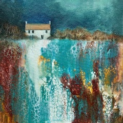 Cathryn Jeff, No Neighbours, Original Landscape Painting, Bright Abstract Art