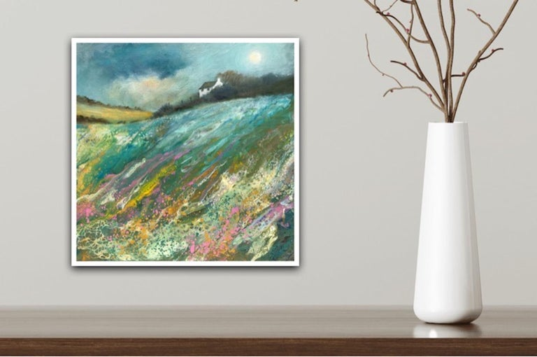 Cathryn Jeff, Pastel Meadow, Original Mixed Media Painting , landscape painting For Sale 8