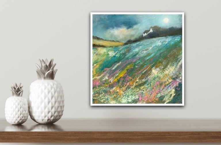 Cathryn Jeff, Pastel Meadow, Original Mixed Media Painting , landscape painting For Sale 9