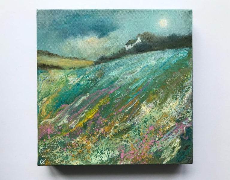 Cathryn Jeff Pastel Meadow Original Mixed Media Painting on Deep Canvas Canvas Size: 25 cm x 25 cm x 3.5 cm Sold Unframed  Please note that in situ images are purely an indication of how a piece may look.  Pastel Meadow is an original landscape