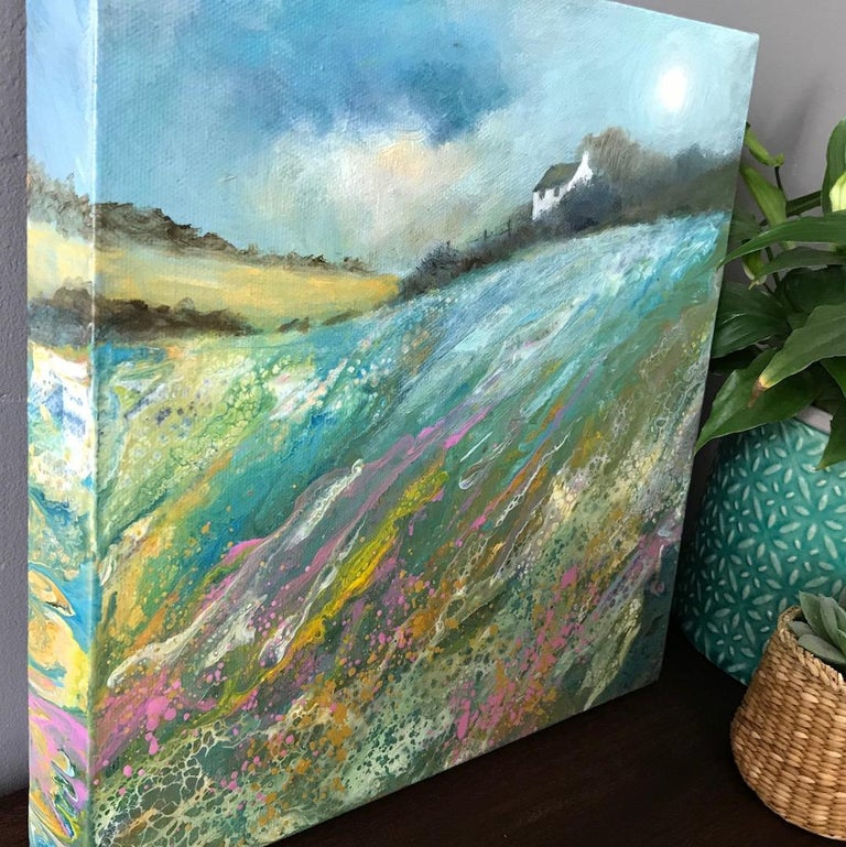Cathryn Jeff, Pastel Meadow, Original Mixed Media Painting , landscape painting For Sale 2