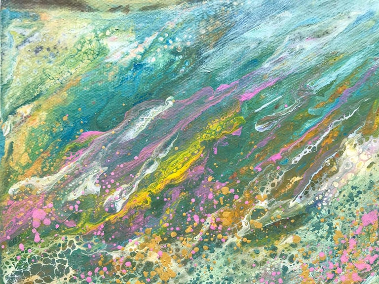 Cathryn Jeff, Pastel Meadow, Original Mixed Media Painting , landscape painting For Sale 5
