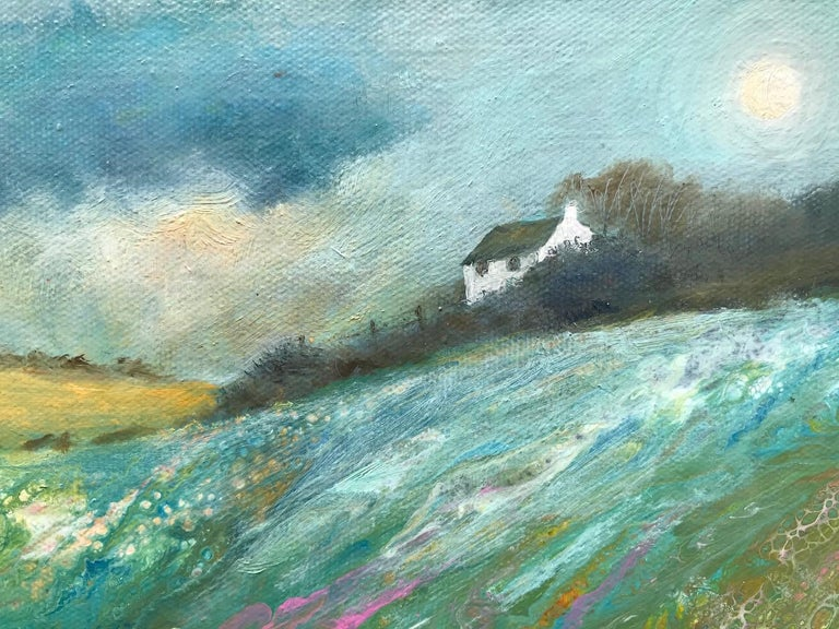 Cathryn Jeff, Pastel Meadow, Original Mixed Media Painting , landscape painting For Sale 6