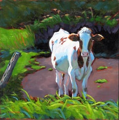 """""""Blue Moo Too,"""" signed oil on board pastoral landscape with cow"""