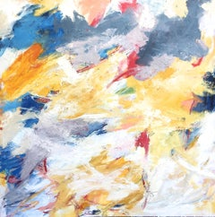 """Either Way""  Gestural Abstraction in White, Burgundy, Blue, Yellow, Lavender"