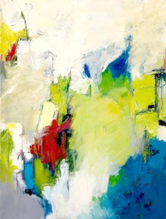 """""""Green Fields""""  Colorful Expressionist Abstract Chartreuse, White, Turquoise,Red"""