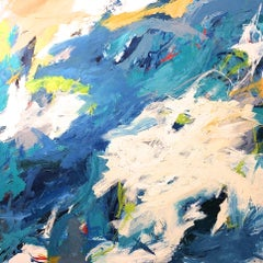 """Gulf Stream Waters""  Gestural Abstraction in Blue, Green, White, Yellow  Yellow"