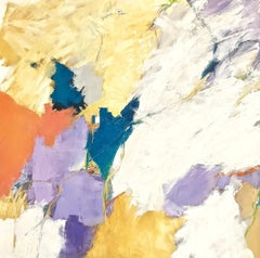 """""""New Beginnings""""  Abstract Expressionist Ptg. in Orange/Tea/Lavender/White/Black"""