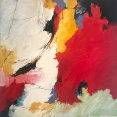 """""""Ode to Connections""""  Abstract Expressionist Ptg.Red, White, Black, Yellow Ochre"""