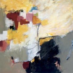 """""""Out of Chaos"""" Abstract Expressionist Ptg Black/White/Burgundy/Yellow Ochre/Blue"""